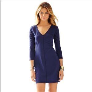 Lilly Pulitzer Juliet navy blue v neck dress Small